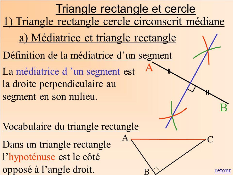 Triangle rectangle et cercle 1) Triangle rectangle cercle circonscrit médiane a) Médiatrice et triangle rectangle Définition de la médiatrice dun segm