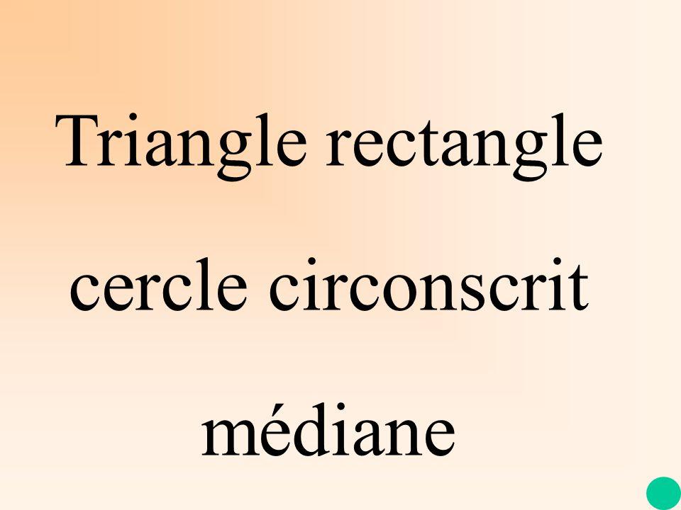 Propriété Si, dans un triangle, une médiane issue dun sommet a une longueur égale à la moitié de la longueur du côté opposé, alors le triangle est rectangle en ce sommet.