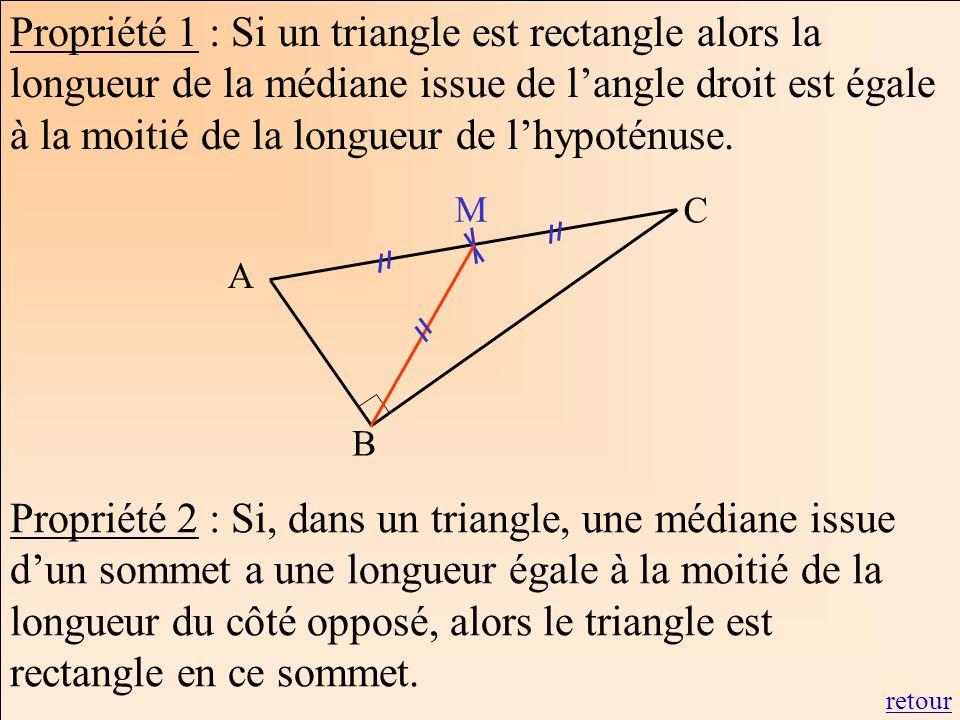 Propriété 1 : Si un triangle est rectangle alors la longueur de la médiane issue de langle droit est égale à la moitié de la longueur de lhypoténuse.