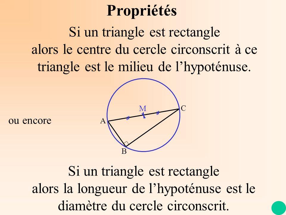 Propriétés Si un triangle est rectangle alors le centre du cercle circonscrit à ce triangle est le milieu de lhypoténuse. A C B M Si un triangle est r
