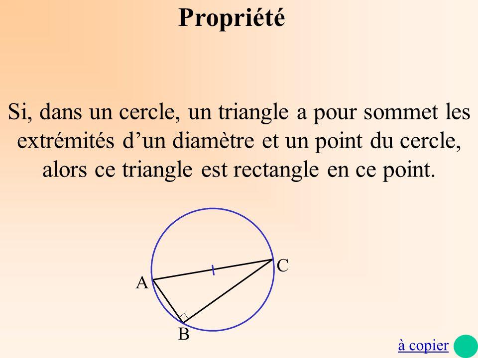 Propriété Si, dans un cercle, un triangle a pour sommet les extrémités dun diamètre et un point du cercle, alors ce triangle est rectangle en ce point