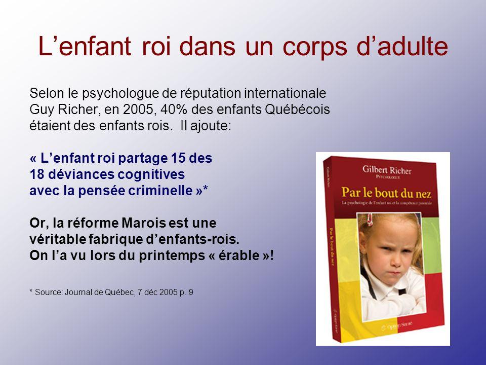Lenfant roi dans un corps dadulte Selon le psychologue de réputation internationale Guy Richer, en 2005, 40% des enfants Québécois étaient des enfants rois.
