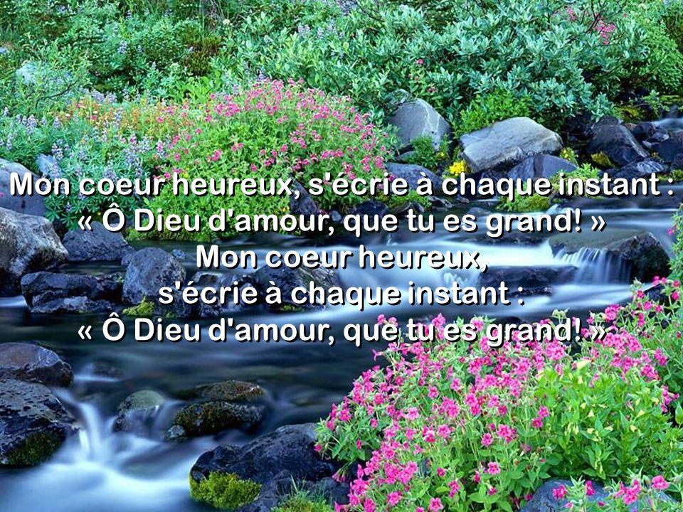 Mon coeur heureux, s écrie à chaque instant : « Ô Dieu d amour, que tu es grand.