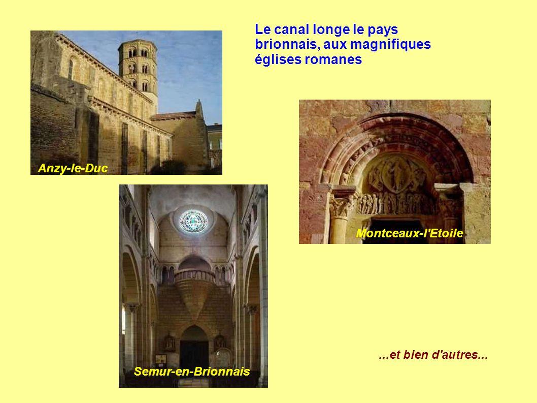 Le canal longe le pays brionnais, aux magnifiques églises romanes Anzy-le-Duc Montceaux-l Etoile Semur-en-Brionnais...et bien d autres...
