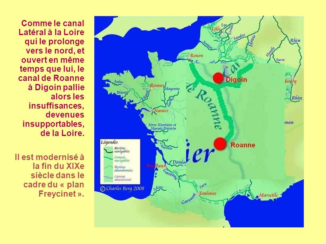 Comme le canal Latéral à la Loire qui le prolonge vers le nord, et ouvert en même temps que lui, le canal de Roanne à Digoin pallie alors les insuffisances, devenues insupportables, de la Loire.