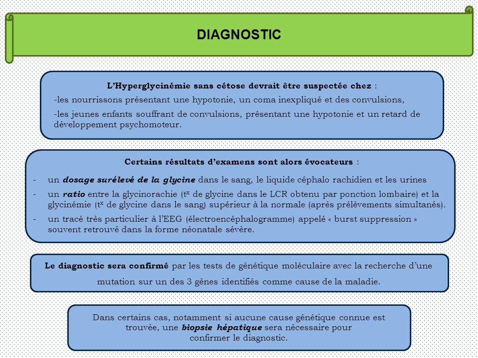 DIAGNOSTIC LHyperglycinémie sans cétose devrait être suspectée chez : -les nourrissons présentant une hypotonie, un coma inexpliqué et des convulsions