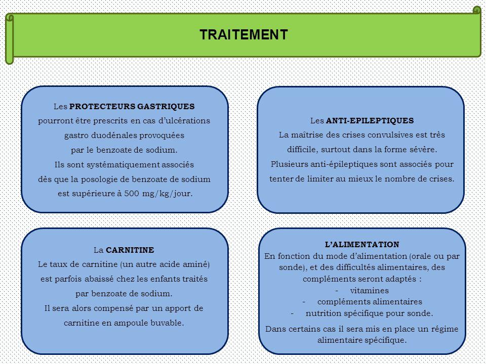 TRAITEMENT Les PROTECTEURS GASTRIQUES pourront être prescrits en cas dulcérations gastro duodénales provoquées par le benzoate de sodium. Ils sont sys