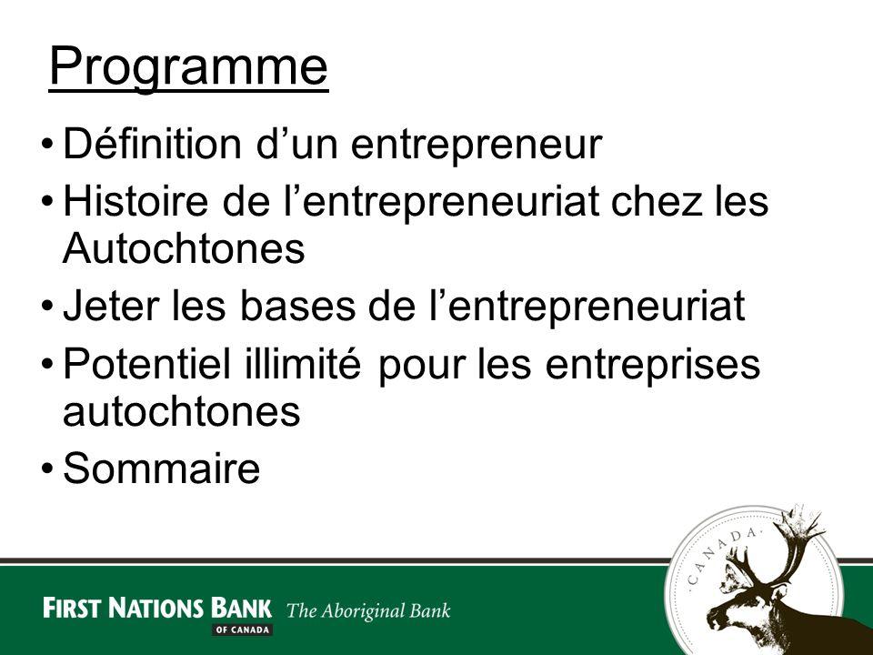 Programme Définition dun entrepreneur Histoire de lentrepreneuriat chez les Autochtones Jeter les bases de lentrepreneuriat Potentiel illimité pour les entreprises autochtones Sommaire