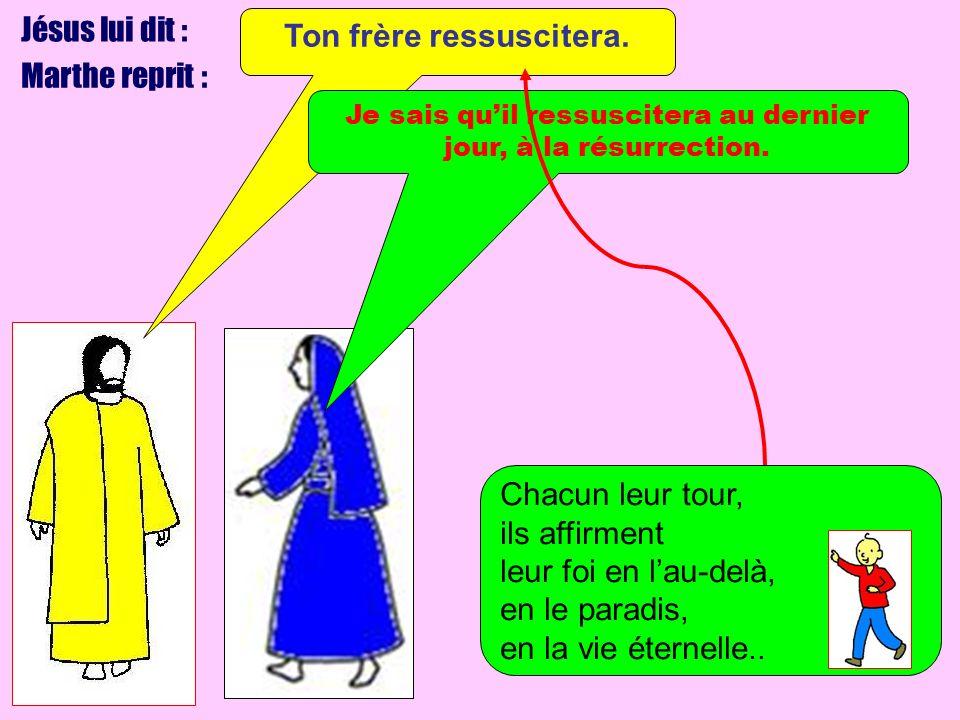 Jésus lui dit : Marthe reprit : Ton frère ressuscitera. Je sais quil ressuscitera au dernier jour, à la résurrection. Chacun leur tour, ils affirment