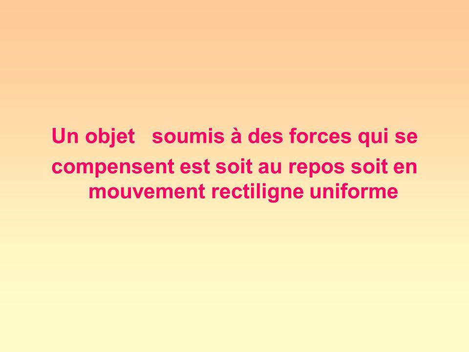 Un objet soumis à des forces qui se compensent est soit au repos soit en mouvement rectiligne uniforme