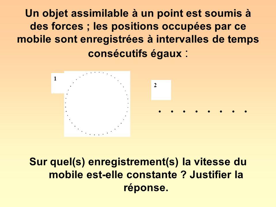 Les distances parcourues pendant des intervalles de temps consécutifs égaux sont égales dans les deux enregistrements : la vitesse du mobile est constante dans les deux enregistrements 1 2....