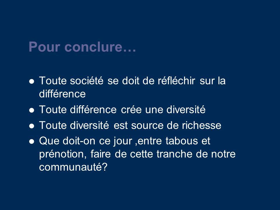 Pour conclure… Toute société se doit de réfléchir sur la différence Toute différence crée une diversité Toute diversité est source de richesse Que doit-on ce jour,entre tabous et prénotion, faire de cette tranche de notre communauté?