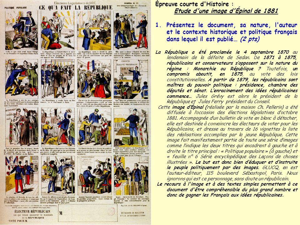 Épreuve courte d'Histoire : Etude d'une image d'Épinal de 1881 1.Présentez le document, sa nature, l'auteur et le contexte historique et politique fra