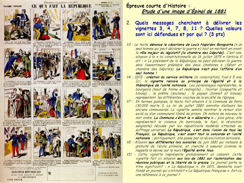 Épreuve courte d'Histoire : Etude d'une image d'Épinal de 1881 2. Quels messages cherchent à délivrer les vignettes 3, 4, 7, 8, 11 ? Quelles valeurs s
