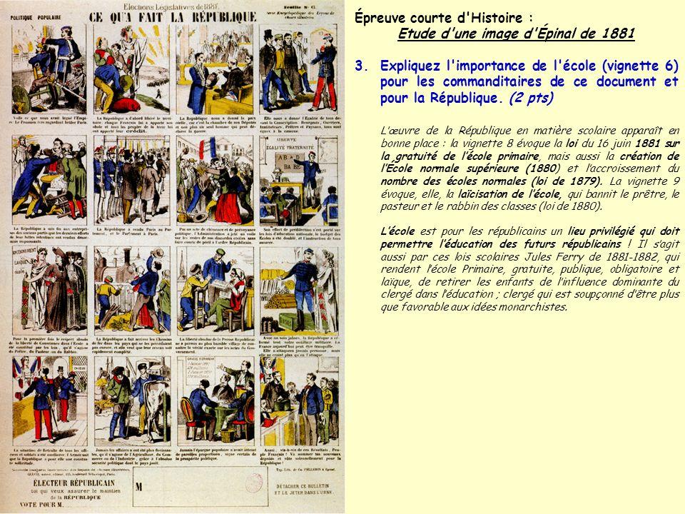 Épreuve courte d Histoire : Etude d une image d Épinal de 1881 4.Certaines vignettes semblent plus négatives , indiquez pourquoi et à quels évènements (vignette 1) ou personnages (vignette 5) font elles allusion.