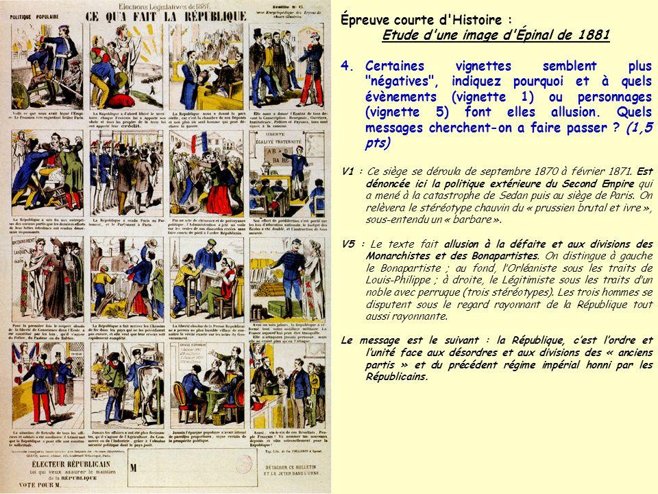 Épreuve courte d'Histoire : Etude d'une image d'Épinal de 1881 4.Certaines vignettes semblent plus