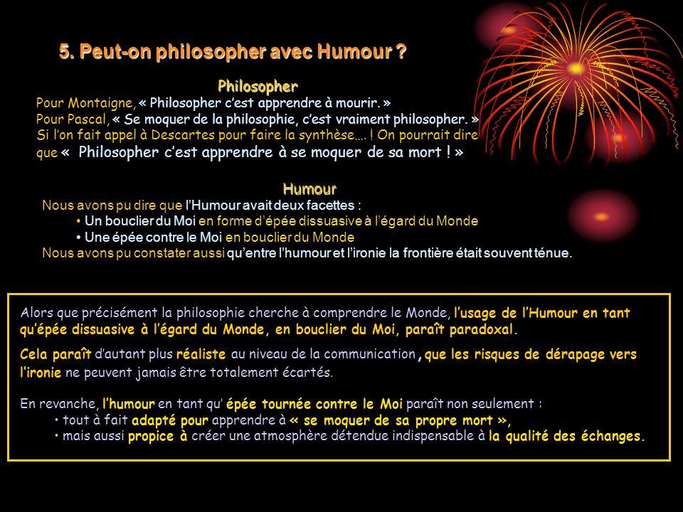 Philosopher Pour Montaigne, « Philosopher cest apprendre à mourir. » Pour Pascal, « Se moquer de la philosophie, cest vraiment philosopher. » Si lon f