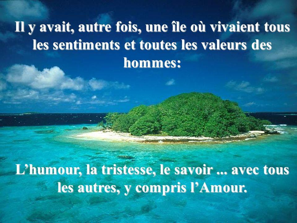 Il y avait, autre fois, une île où vivaient tous les sentiments et toutes les valeurs des hommes: Lhumour, la tristesse, le savoir... avec tous les au