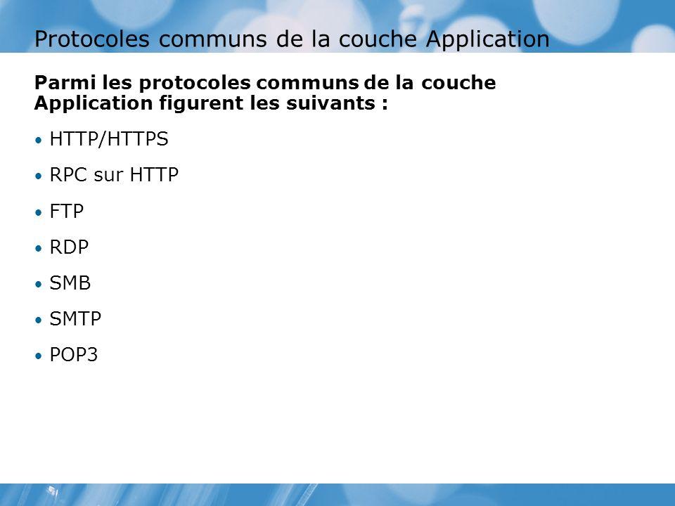 Protocoles communs de la couche Application Parmi les protocoles communs de la couche Application figurent les suivants : HTTP/HTTPS RPC sur HTTP FTP RDP SMB SMTP POP3