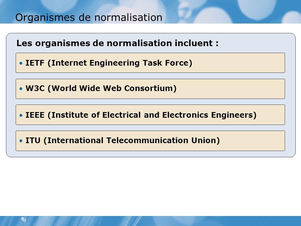 Organismes de normalisation IETF (Internet Engineering Task Force) W3C (World Wide Web Consortium) Les organismes de normalisation incluent : IEEE (Institute of Electrical and Electronics Engineers) ITU (International Telecommunication Union)