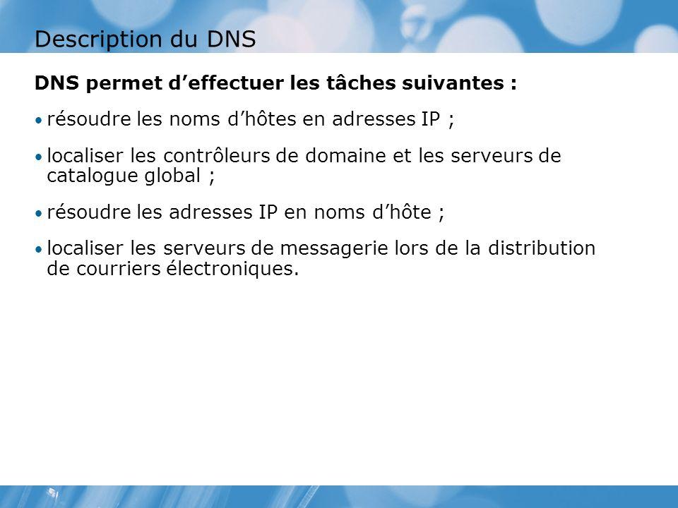 Description du DNS DNS permet deffectuer les tâches suivantes : résoudre les noms dhôtes en adresses IP ; localiser les contrôleurs de domaine et les serveurs de catalogue global ; résoudre les adresses IP en noms dhôte ; localiser les serveurs de messagerie lors de la distribution de courriers électroniques.