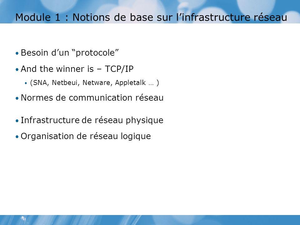 Module 1 : Notions de base sur linfrastructure réseau Besoin dun protocole And the winner is – TCP/IP (SNA, Netbeui, Netware, Appletalk … ) Normes de communication réseau Infrastructure de réseau physique Organisation de réseau logique