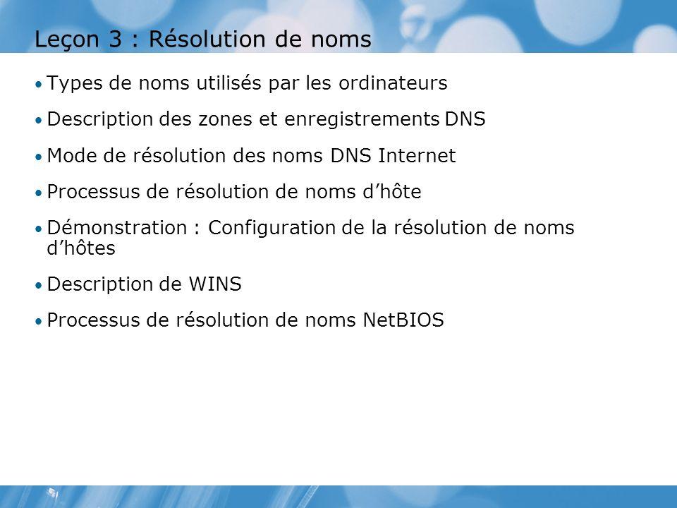 Leçon 3 : Résolution de noms Types de noms utilisés par les ordinateurs Description des zones et enregistrements DNS Mode de résolution des noms DNS Internet Processus de résolution de noms dhôte Démonstration : Configuration de la résolution de noms dhôtes Description de WINS Processus de résolution de noms NetBIOS