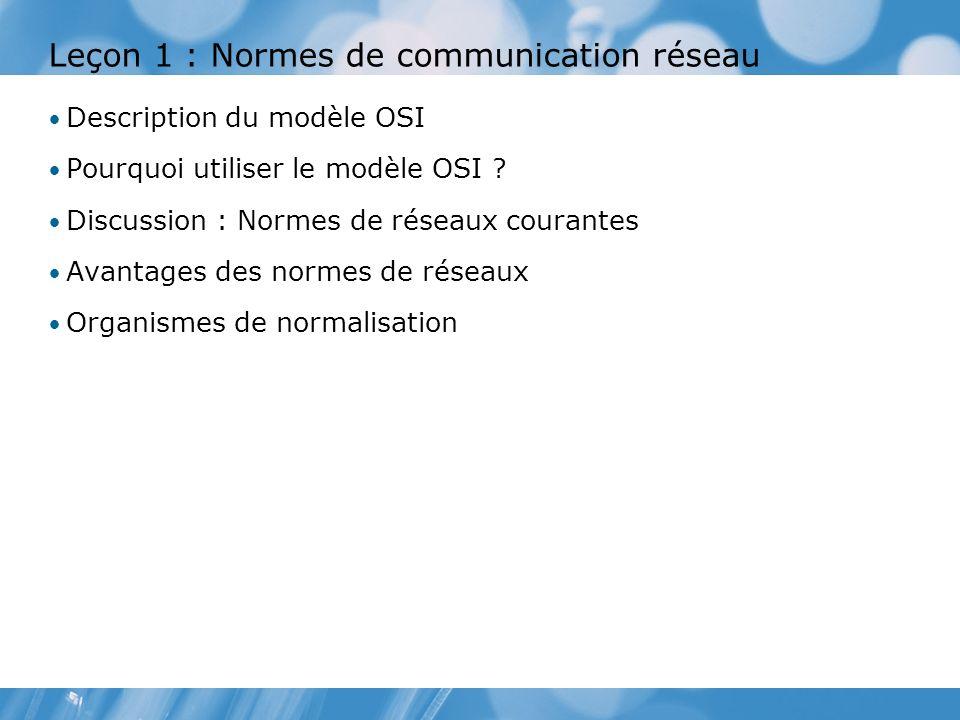 Leçon 1 : Normes de communication réseau Description du modèle OSI Pourquoi utiliser le modèle OSI .
