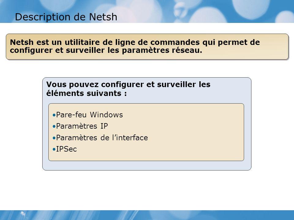 Vous pouvez configurer et surveiller les éléments suivants : Pare-feu Windows Paramètres IP Paramètres de linterface IPSec Netsh est un utilitaire de ligne de commandes qui permet de configurer et surveiller les paramètres réseau.