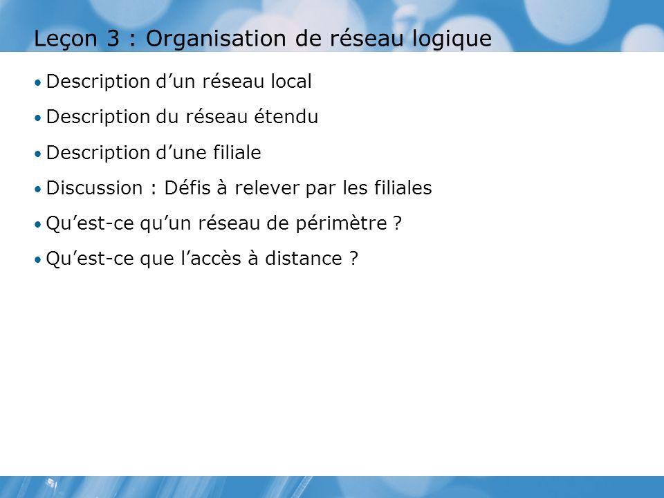 Leçon 3 : Organisation de réseau logique Description dun réseau local Description du réseau étendu Description dune filiale Discussion : Défis à relever par les filiales Quest-ce quun réseau de périmètre .