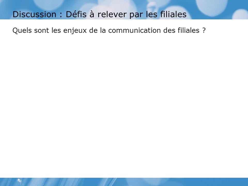 Discussion : Défis à relever par les filiales Quels sont les enjeux de la communication des filiales ?