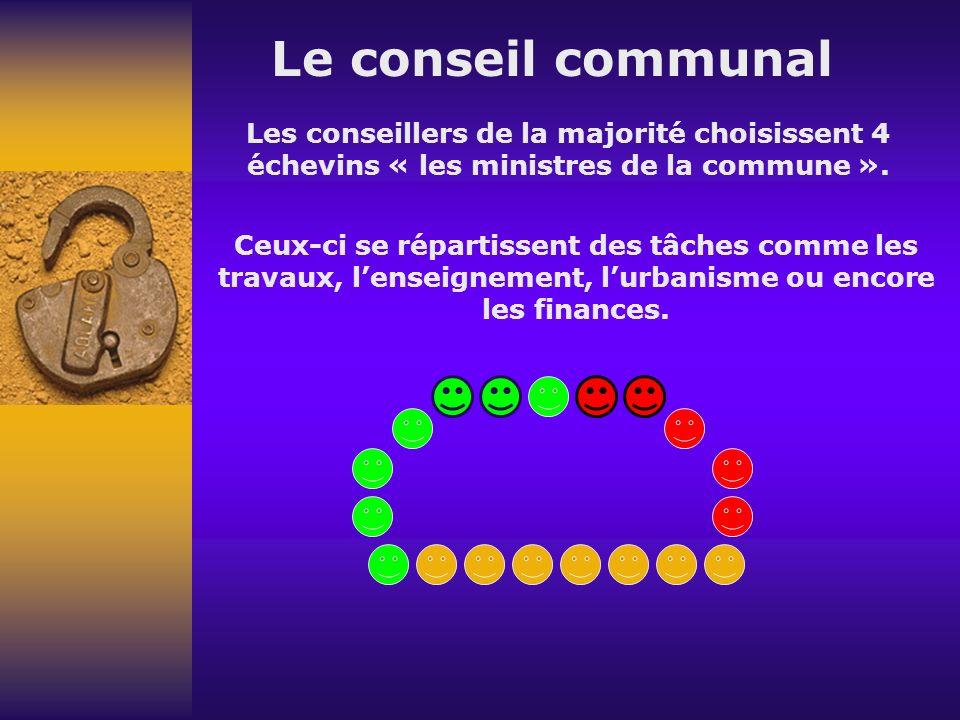 Le conseil communal Les conseillers de la majorité choisissent 4 échevins « les ministres de la commune ».