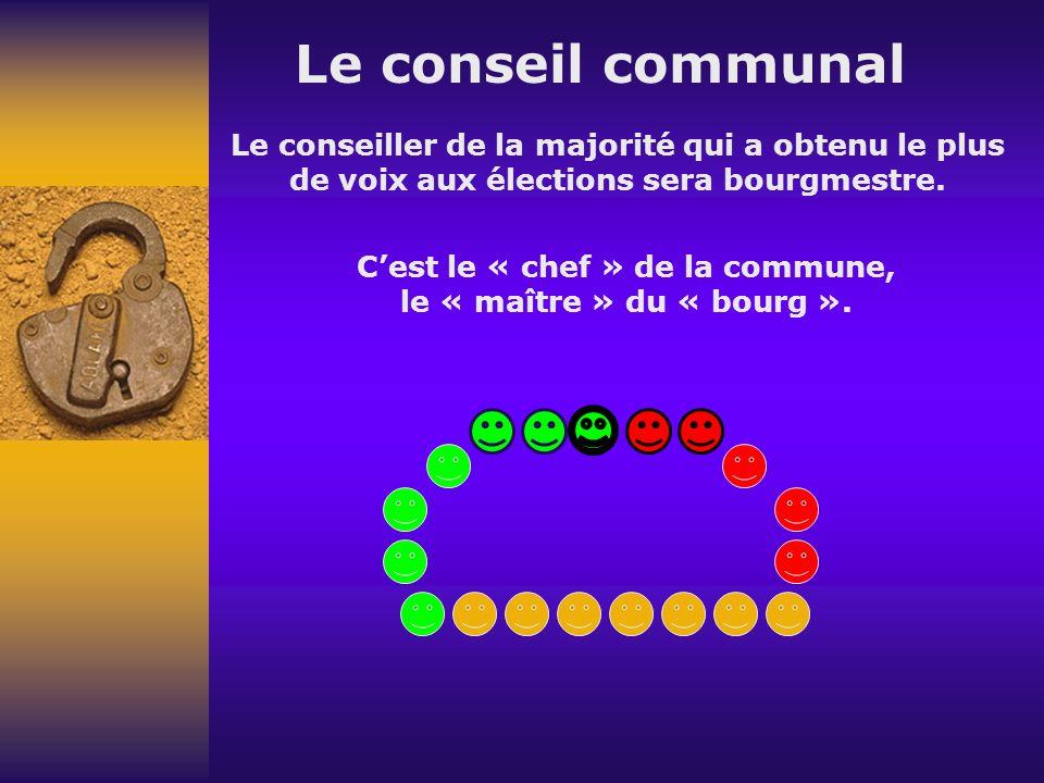 Le conseil communal Le conseiller de la majorité qui a obtenu le plus de voix aux élections sera bourgmestre.