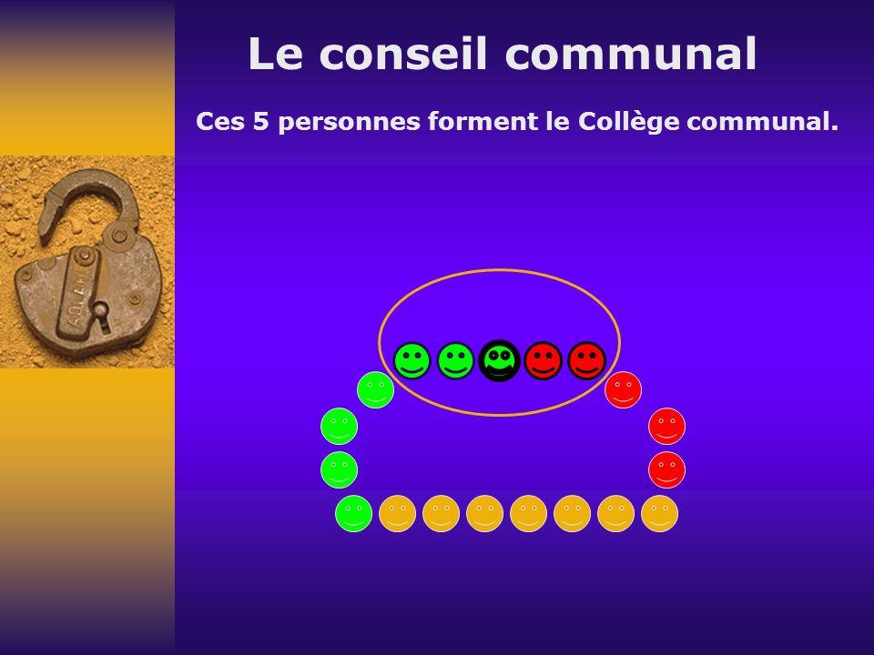 Le conseil communal Ces 5 personnes forment le Collège communal.