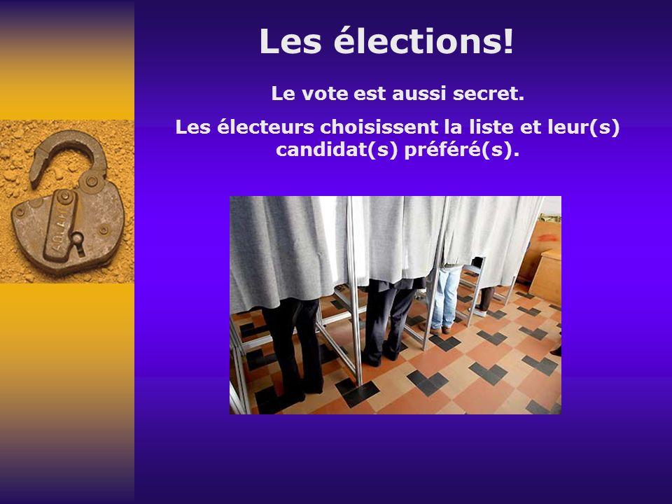 Les élections. Le vote est aussi secret.