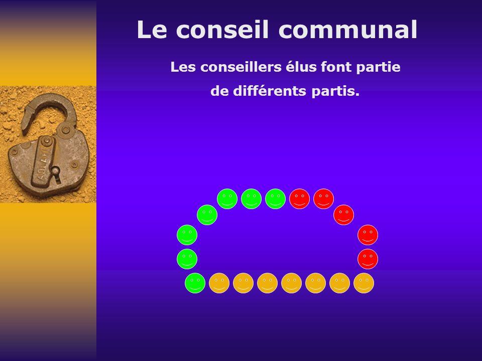 Le conseil communal Les conseillers élus font partie de différents partis.
