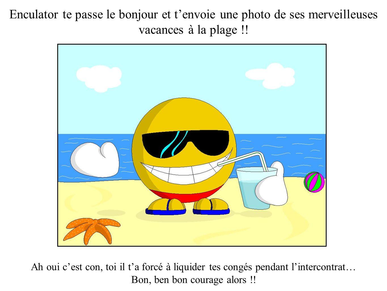 Enculator te passe le bonjour et tenvoie une photo de ses merveilleuses vacances à la plage !! Ah oui cest con, toi il ta forcé à liquider tes congés