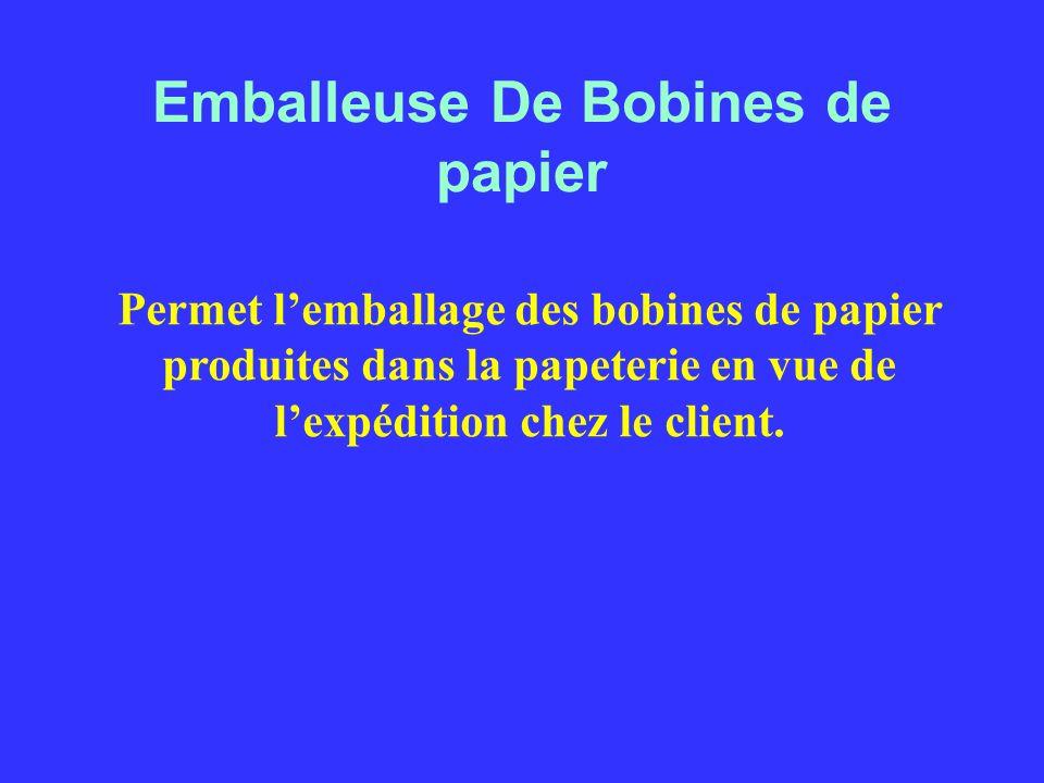 Emballeuse De Bobines de papier Permet lemballage des bobines de papier produites dans la papeterie en vue de lexpédition chez le client.