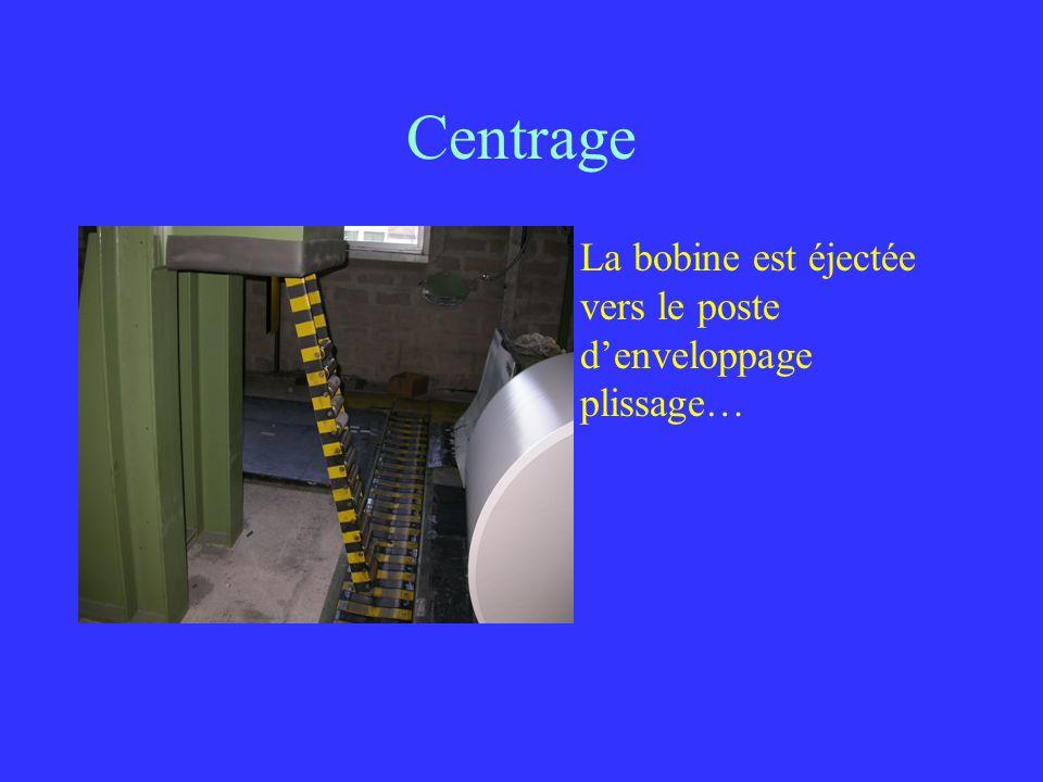 Centrage La bobine est éjectée vers le poste denveloppage plissage…