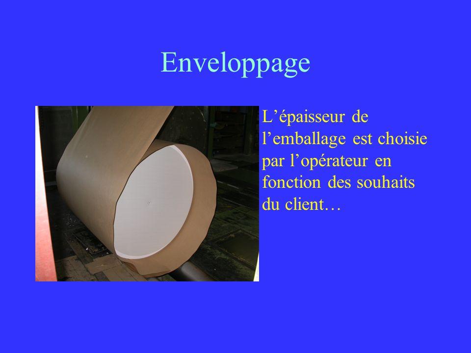 Enveloppage Lépaisseur de lemballage est choisie par lopérateur en fonction des souhaits du client…