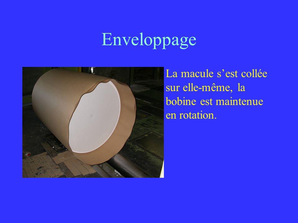 Enveloppage La macule sest collée sur elle-même, la bobine est maintenue en rotation.