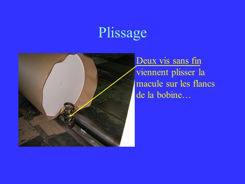 Plissage Deux vis sans fin viennent plisser la macule sur les flancs de la bobine…