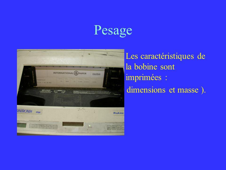 Pesage Les caractéristiques de la bobine sont imprimées : ( dimensions et masse ).