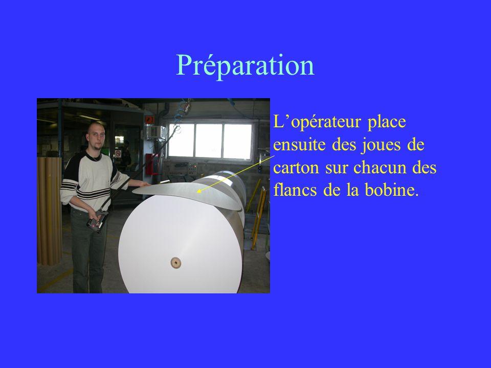 Préparation Lopérateur place ensuite des joues de carton sur chacun des flancs de la bobine.