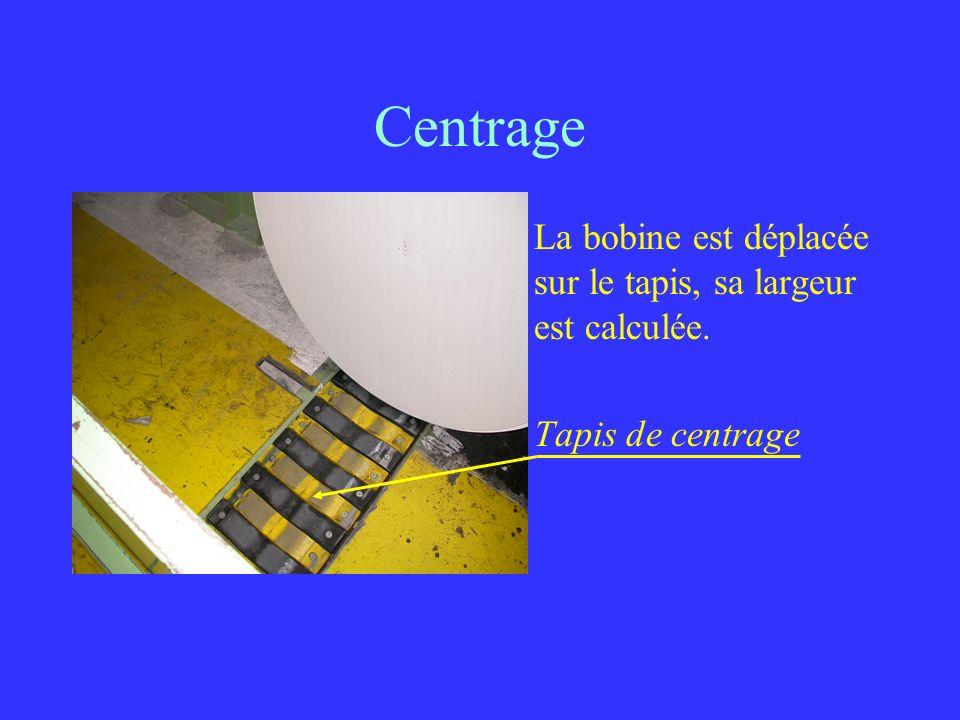 Centrage La bobine est déplacée sur le tapis, sa largeur est calculée. Tapis de centrage
