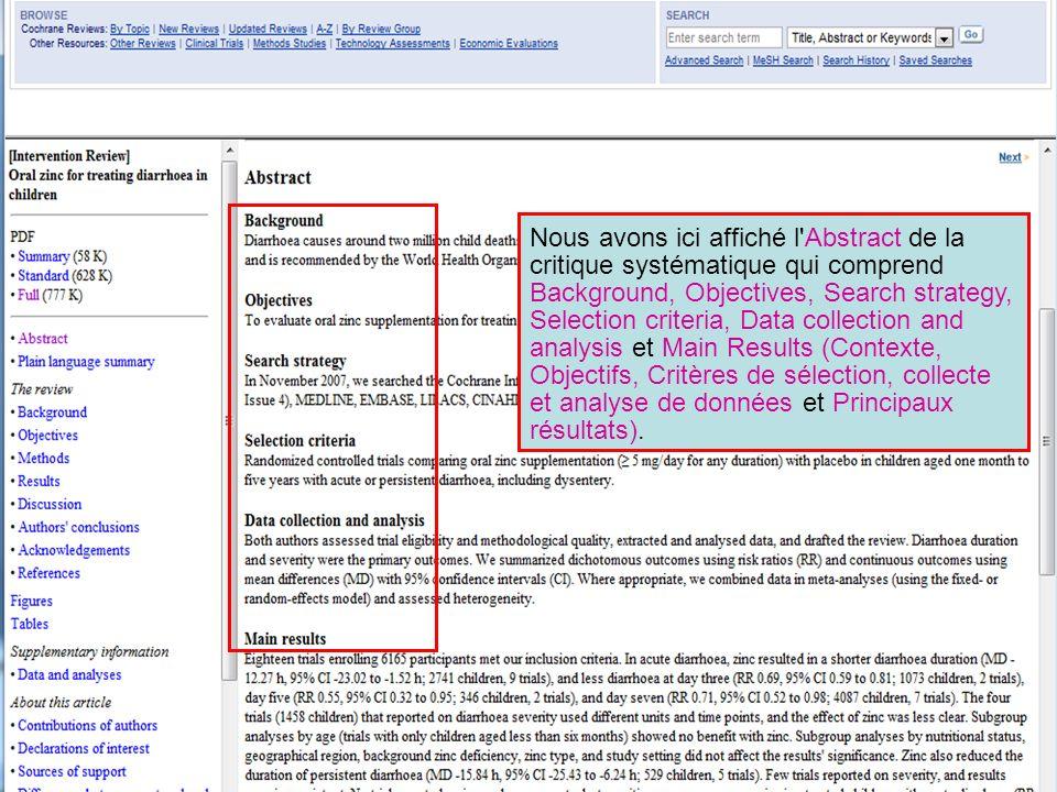 Nous avons ici affiché l'Abstract de la critique systématique qui comprend Background, Objectives, Search strategy, Selection criteria, Data collectio
