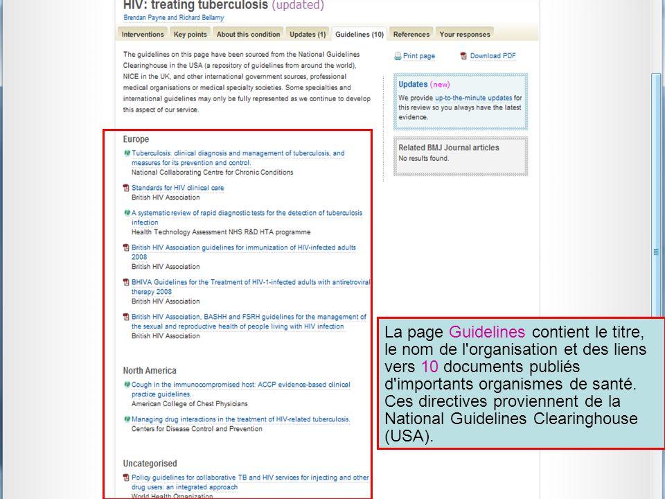 La page Guidelines contient le titre, le nom de l'organisation et des liens vers 10 documents publiés d'importants organismes de santé. Ces directives
