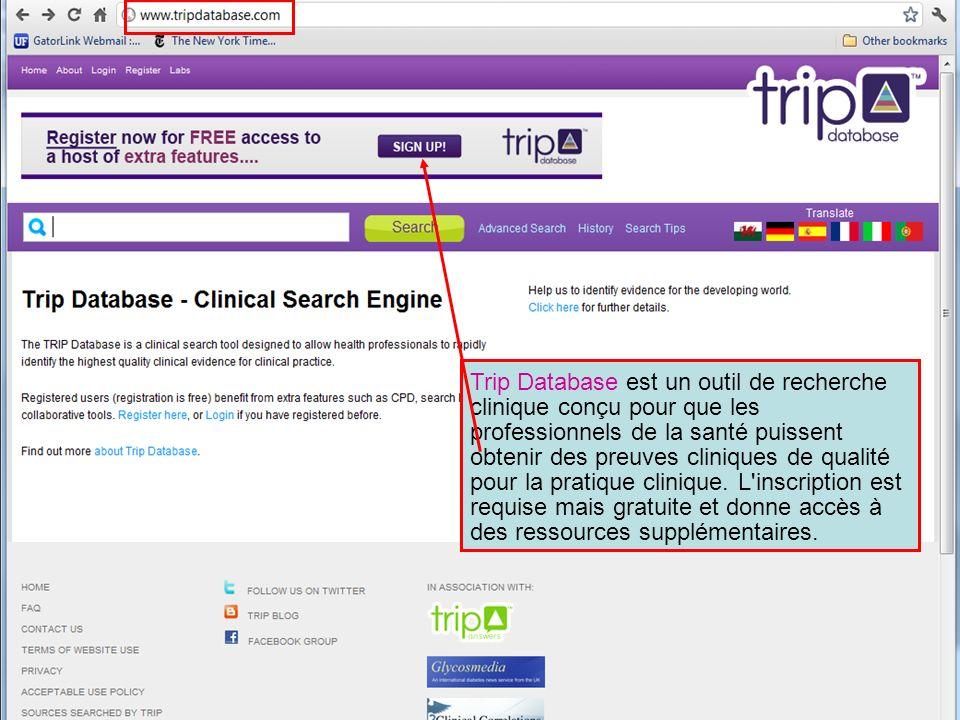 Trip Database est un outil de recherche clinique conçu pour que les professionnels de la santé puissent obtenir des preuves cliniques de qualité pour