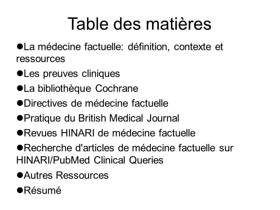 Table des matières La médecine factuelle: définition, contexte et ressources Les preuves cliniques La bibliothèque Cochrane Directives de médecine fac