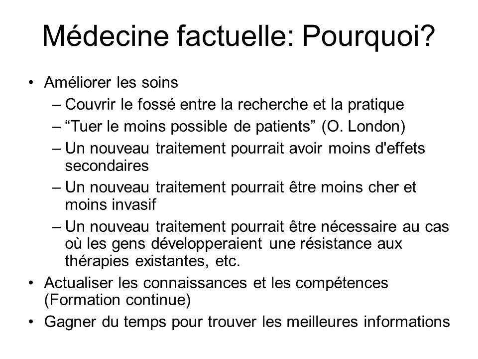 Médecine factuelle: Pourquoi? Améliorer les soins –Couvrir le fossé entre la recherche et la pratique –Tuer le moins possible de patients (O. London)